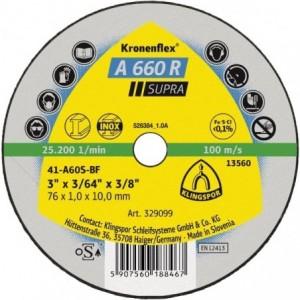 Tarcza 76x1x10 metal/inox Klingspor A 660 R 329099 100 szt