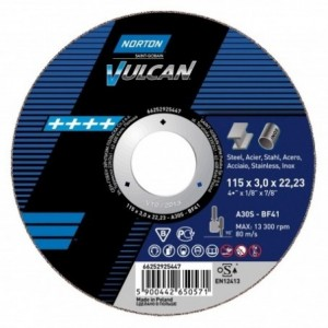 Tarcza 115x6x22 metal/inox Norton Vulcan FAST CUT 66252830803 10 szt