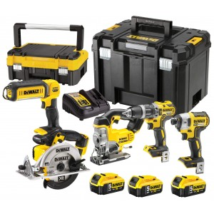 Zestaw 5 narzędzi + 3 aku 5Ah + ładowarka + 2 kufry DeWalt DCK551P3T