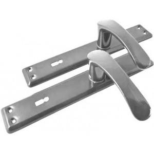 Klamka do bramy 90 KL z podłużnym szyldem Gamar Mercury kolor srebrny