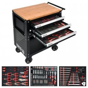 Wózek warsztatowy narzędziowy z 3 szufladami i zestawem 162 narzędziami czarny YATO...