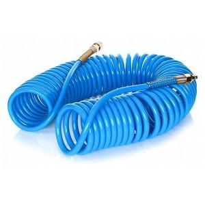 Wąż pneumatyczny spiralny z szybkozłączami typu 26KA PU 10x6,5mm 15m