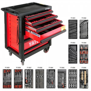 Wózek warsztatowy narzędziowy z 6 szufladami i zestawem 177 narzędzi czerwony YATO YT-5530