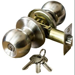 Zamek do drzwi wpuszczany z kluczem w gałce nikiel/mat