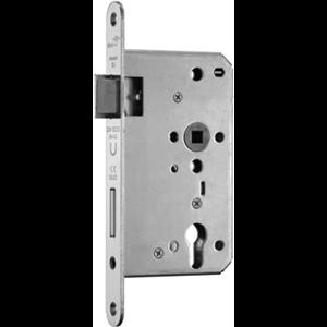 Zamek do drzwi 72/65 wpuszczany na wkładkę bębenkową przeciwpożarowy antypaniczny E inox BMH  lewy
