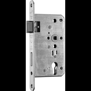 Zamek do drzwi 72/65 wpuszczany na wkładkę bębenkową przeciwpożarowy antypaniczny D inox BMH  lewy