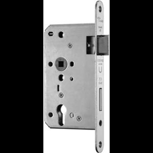 Zamek do drzwi 72/65 wpuszczany na wkładkę bębenkową przeciwpożarowy antypaniczny E inox BMH  prawy