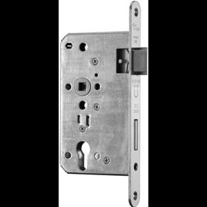 Zamek do drzwi 72/65 wpuszczany na wkładkę bębenkową przeciwpożarowy antypaniczny D inox BMH  prawy