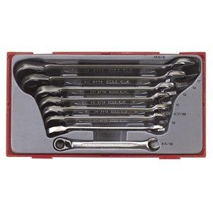 Zestaw kluczy płasko-oczkowych z mechanizmem zapadkowym. calowych TengTools 10973-0200