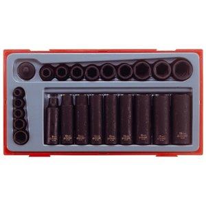 24-elementowy zestaw nasadek maszynowych z chwytem 1/4'' i 3/8'' TengTools 13247-0105