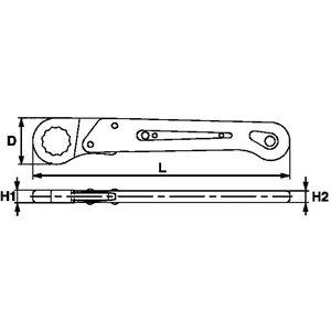 Klucz oczkowy z zapadką otwierany 14MM TengTools 18679-0200