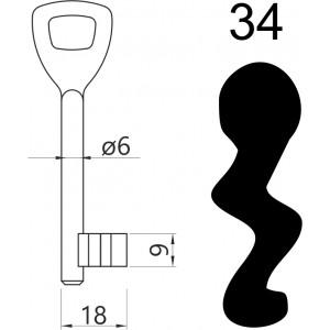 Klucz nr 34 piórowy do zamków wpuszczanych LOB AR03