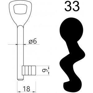 Klucz nr 33 piórowy do zamków wpuszczanych LOB AR03