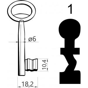 Klucz nr 1 piórowy do zamków wpuszczanych JANIA
