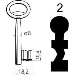 Klucz nr 2 piórowy do zamków wpuszczanych JANIA