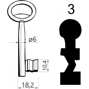 Klucz nr 3 piórowy do zamków wpuszczanych JANIA