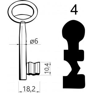 Klucz nr 4 piórowy do zamków wpuszczanych JANIA