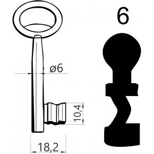 Klucz nr 6 piórowy do zamków wpuszczanych JANIA