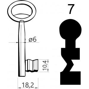 Klucz nr 7 piórowy do zamków wpuszczanych JANIA