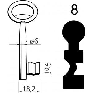 Klucz nr 8 piórowy do zamków wpuszczanych JANIA