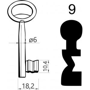 Klucz nr 9 piórowy do zamków wpuszczanych JANIA