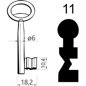 Klucz nr 11 piórowy do zamków wpuszczanych JANIA