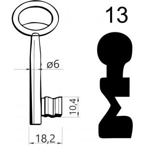 Klucz nr 13 piórowy do zamków wpuszczanych JANIA