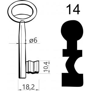 Klucz nr 14 piórowy do zamków wpuszczanych JANIA