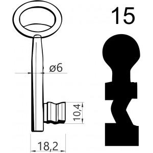 Klucz nr 15 piórowy do zamków wpuszczanych JANIA