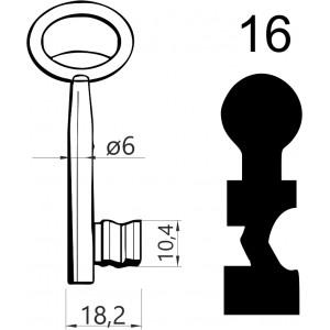 Klucz nr 16 piórowy do zamków wpuszczanych JANIA