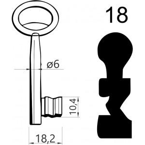 Klucz nr 18 piórowy do zamków wpuszczanych JANIA