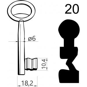 Klucz nr 20 piórowy do zamków wpuszczanych JANIA