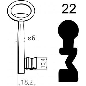 Klucz nr 22 piórowy do zamków wpuszczanych JANIA
