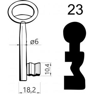 Klucz nr 23 piórowy do zamków wpuszczanych JANIA