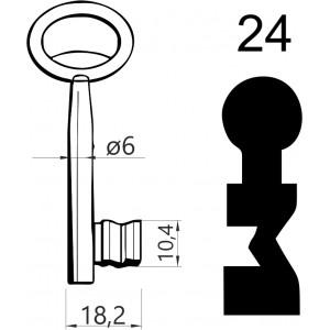 Klucz nr 24 piórowy do zamków wpuszczanych JANIA