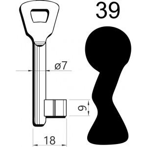 Klucz nr 39 piórowy do zamków wpuszczanych GERDA ZW100