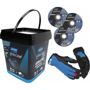 Pakiet 100 tarcz NORTON VULCAN 125x1 + rękawice robocze