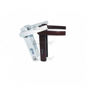 WIS Klamka do drzwi 90/30 z długim szyldem na klucz (kształt rękojeści D1) biała