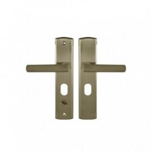Klamka do drzwi prawa 68 WB z podłużnym szyldem patyna GAMAR APO