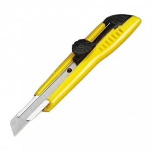 Noż z ostrzem łamanym 18mm metal prowadz. z pokrętłem