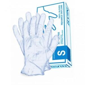 Rękawice jednorazowe winylowe niebieskie RVIN-N S