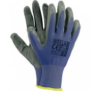 Rękawice robocze z poliestru, niebiesko-szare RTELA-NS 8