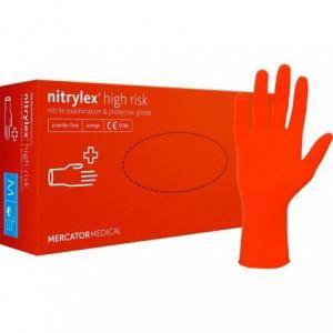 Rękawiczki nitrylowe, pomarańczowe Nitrylex High Risk M